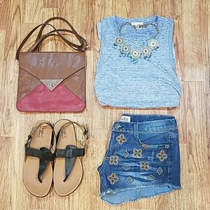 Embroidered Jean Short Cut Offs Boho Cheeky